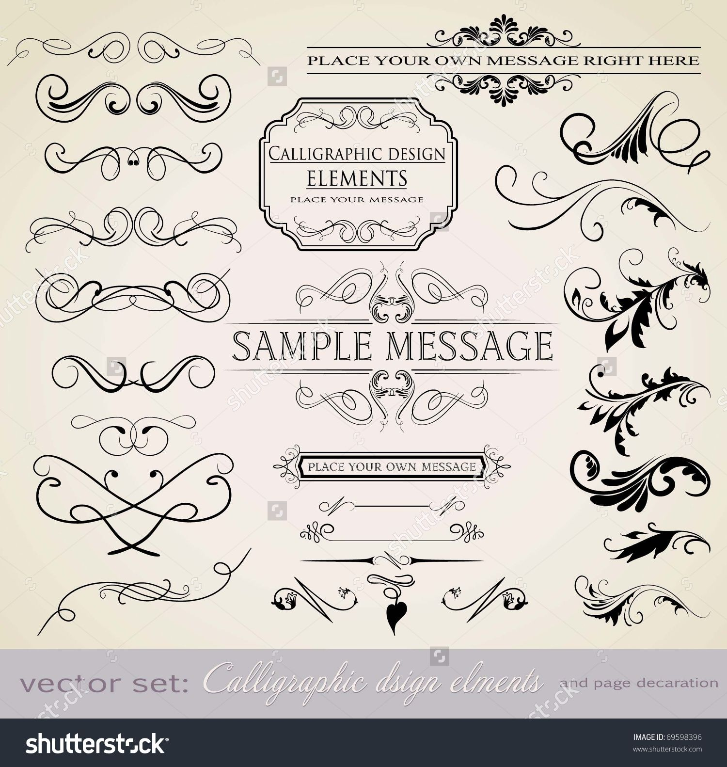 Vector Set: Calligraphic Design Elements And Page Decoration - Lots Of Useful Elements To Embellish Your Layout - 69598396 : Shutterstock