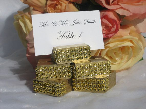 Gold Wood Place Cards Escort Card Holders Trimmed With A Crystal Wrap At