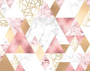 Seamless geometric pattern with metallic lines, rose gold, gray and pink marble triangles , #sponsored, #metallic, #lines, #pattern, #Seamless, #geometric #Ad