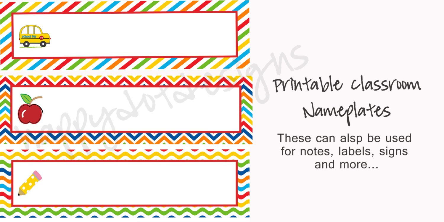 printable rainbow school desk name plates name cards for classroom