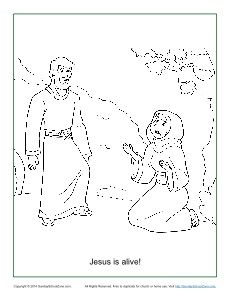 This is an image of Effortless jesus is alive coloring page