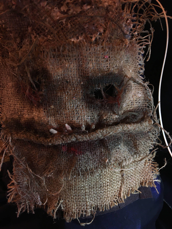 creepy scary burlap scarecrow mask. halloween horror costume party
