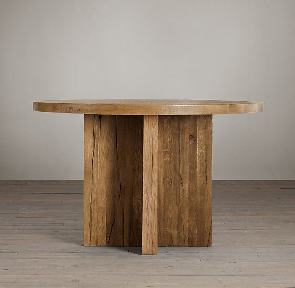 Reclaimed Russian Oak Plank Round Dining Table Home