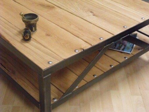 table basse bois m tal style industriel salons tables. Black Bedroom Furniture Sets. Home Design Ideas