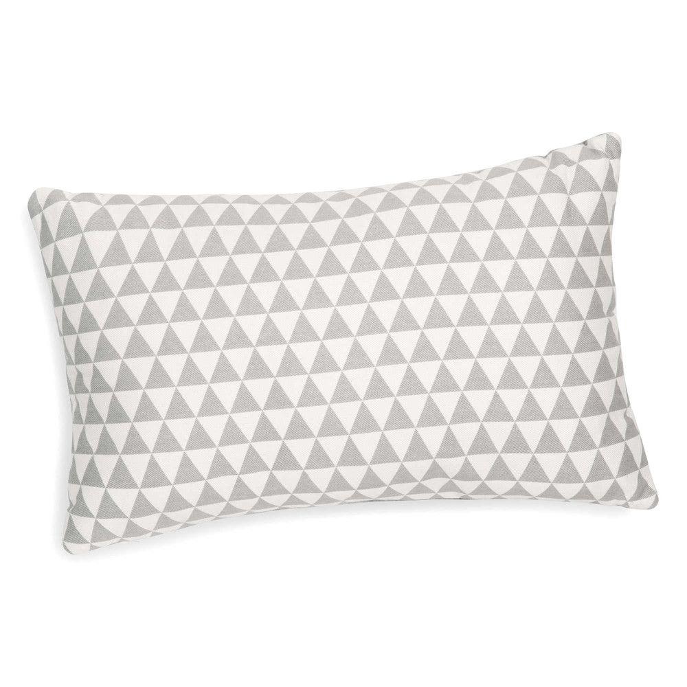Kissen Mit Dreieckmotiv Weiss X2f Grau 30 X 50 Cm Maisons Du