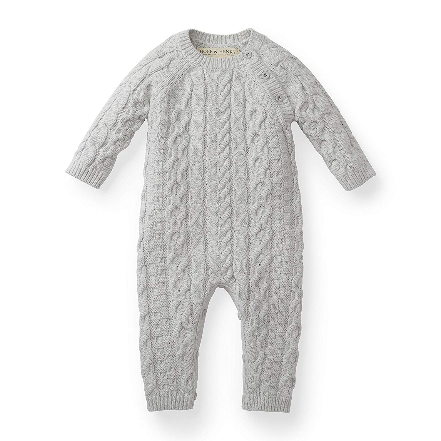 cb5661121 Hope   Henry Layette Grey Cable Knit Sweater Romper Made with ...