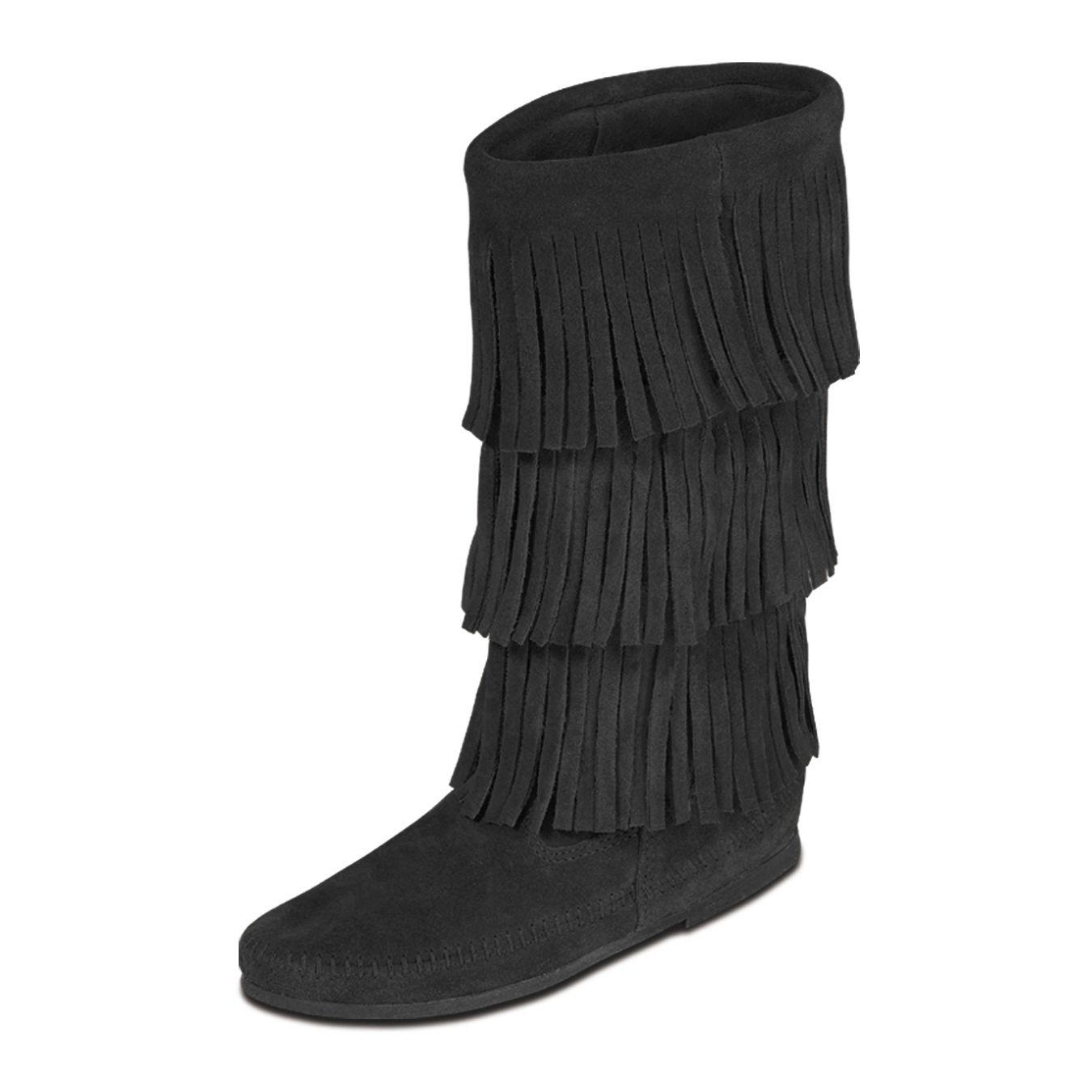 Minnetonka 3-Layer Fringe Boot Black, Schuhe, Stiefel & Stiefeletten, Hohe Stiefel, Schwarz, Female, 36
