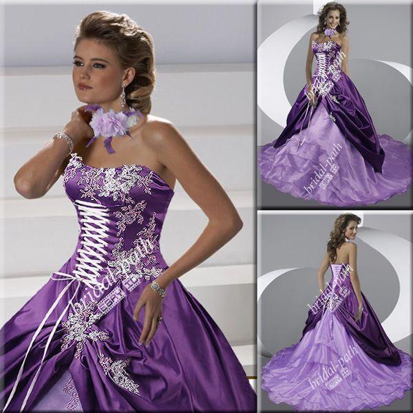 Stunning Purple Gothic Lilac Pink Wedding Dress Bridal Ball Gown B1575