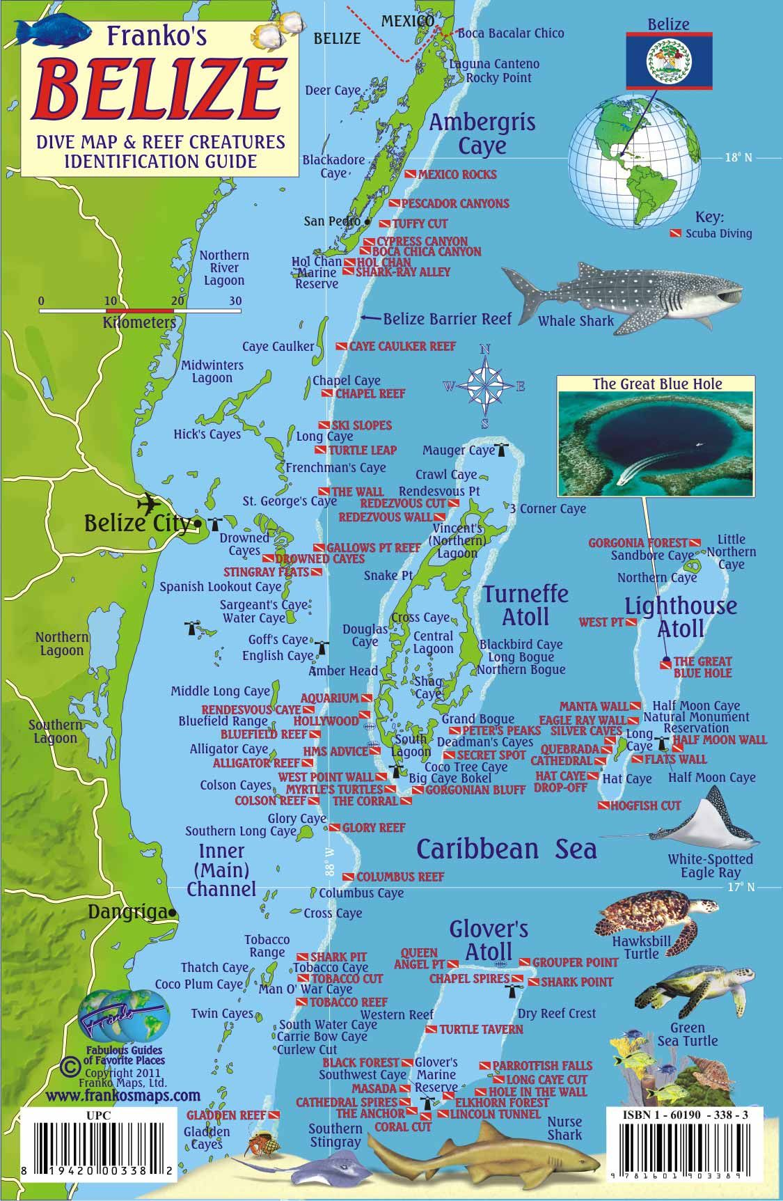Belize Scuba Diving Map And Reef Creature Identification Guide - Map of dive bars in us