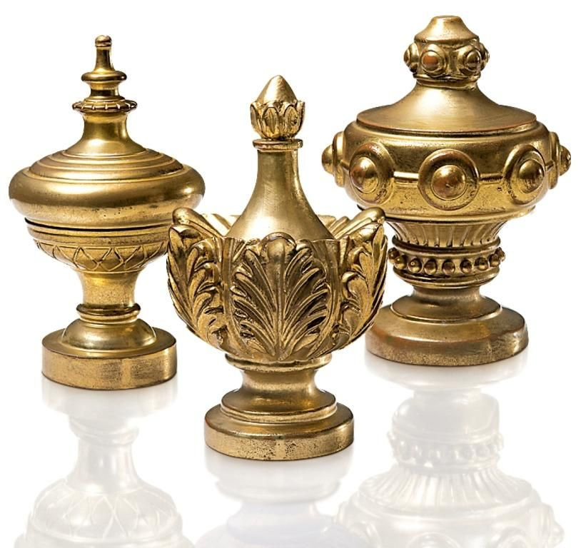 Fabricut European Grandeur Finials In Water Gilded Gold From Left