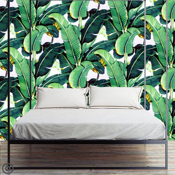 banana leaf golden girls removable wallpaper peel and stick tropical jungle decor self. Black Bedroom Furniture Sets. Home Design Ideas
