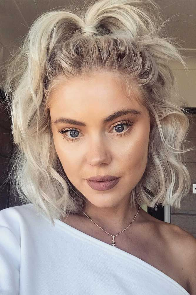 Half Up Lob Hairstyles Picture2 Short Hair Styles Easy Short Hair Updo Short Hair Ponytail