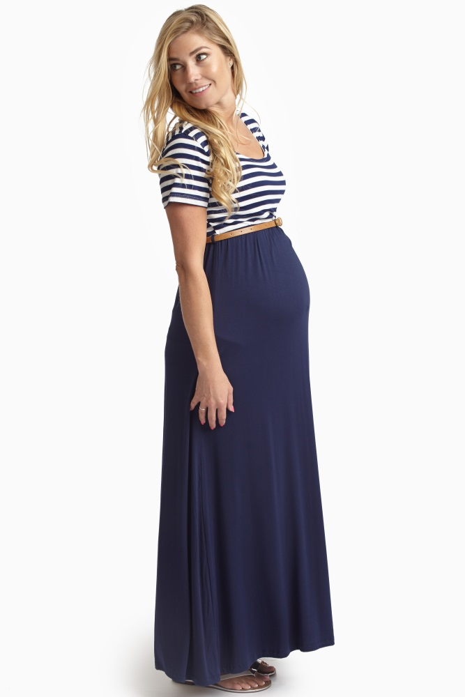 f2b0211502415 Dressing for summer just got a whole lot easier with this striped top,  solid bottom maxi dress. A colorblock and classic stipe print are separated  with a ...