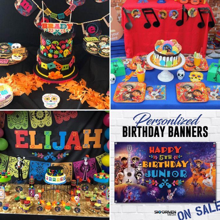 Banners Backdrop Birthday Custom Birthdaybanner Birthdayparty Party Desserttable Coco Disney Disneyland Pixar Cart Birthday Banner Birthday Banner