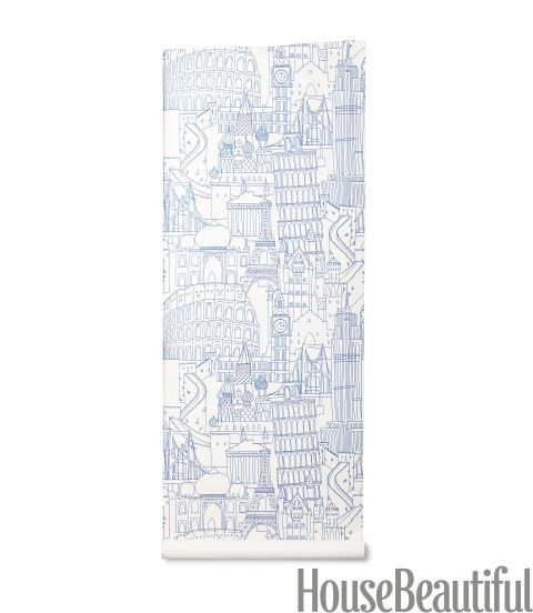 A tour of the world's most famous attractions. Nonwoven paper in Blue. clarke-clarke.com.