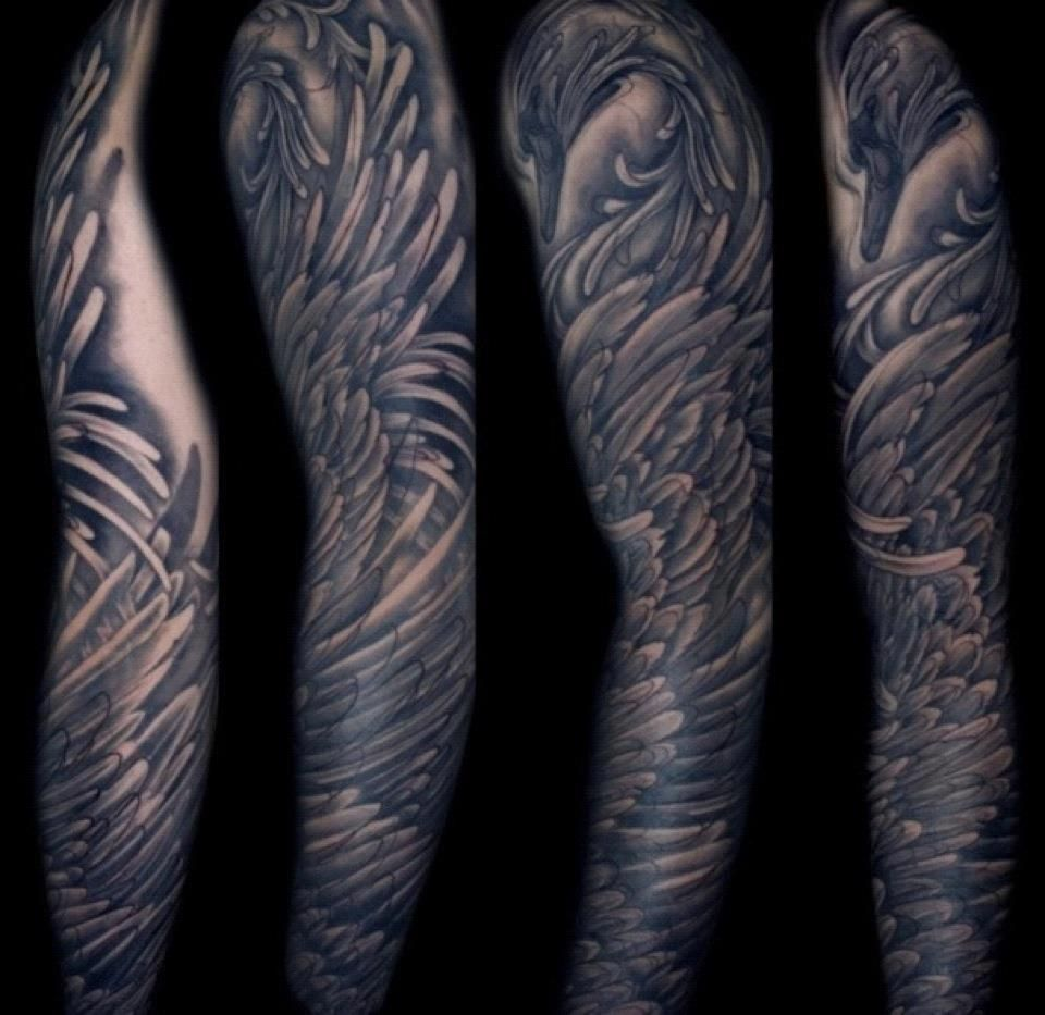 Tattoo ideas for guys half sleeve amazing sleeve by hannah keus at good times tattoos swan design