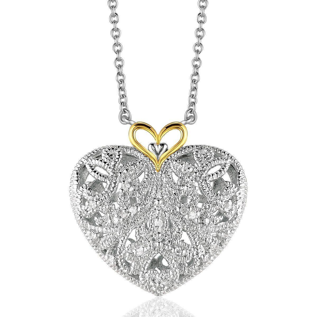 Sterling silver and 14k yellow gold filigree heart pendant with sterling silver and 14k yellow gold filigree heart pendant with diamond accent aloadofball Gallery