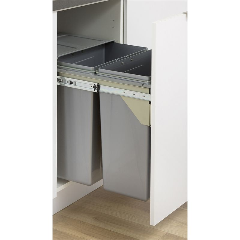 kaboodle 2 x 31l grey side mount pullout bins storage kitchen storage hinges for cabinets on kaboodle kitchen bunnings drawers id=50433