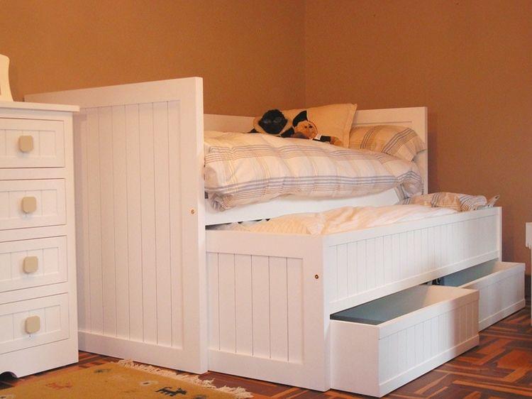 cama nido marinera cajones fabricada en madera maciza de pino acabado lacado color blanco