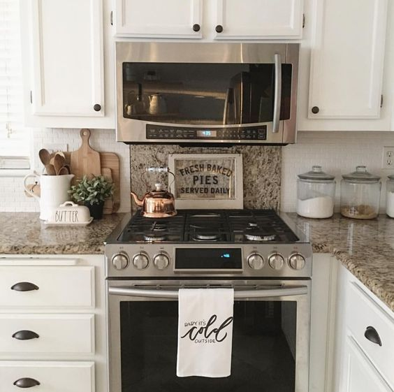 Simple kitchen with a pop of copper | Farmhouse kitchen ... on Farmhouse Kitchen Counter Decor Ideas  id=58935