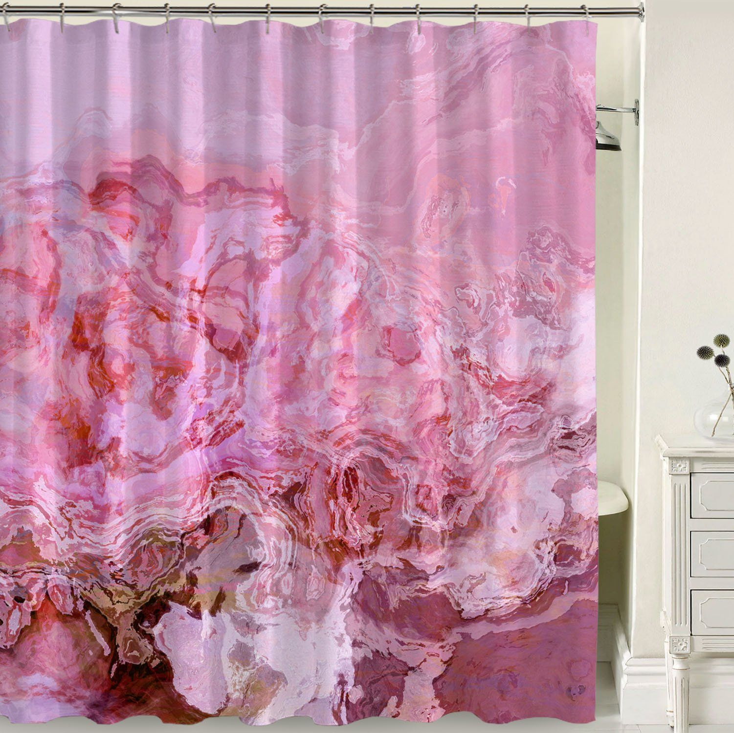 Abstract Art Shower Curtain Pastel Pink Parfait