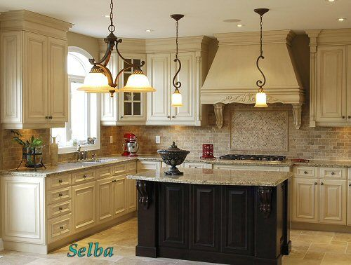 Antique white cabinets light granite antique black island My
