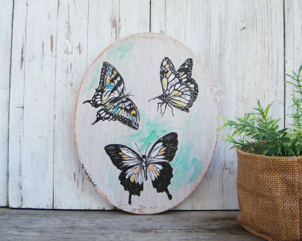 Oval wall art butterflies wall sign butterfly print bedroom decor