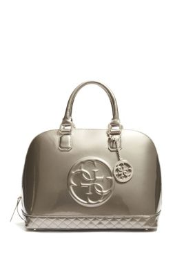 e9fe84193c47c Amy Quattro G Patent Dome Satchel   GUESS.com   Shoes   Pinterest ...