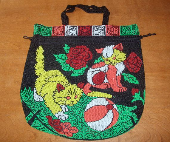Vintage BEADED PURSE / CAT Handbag / Kittens by VintageAntiqueLane, $18.00