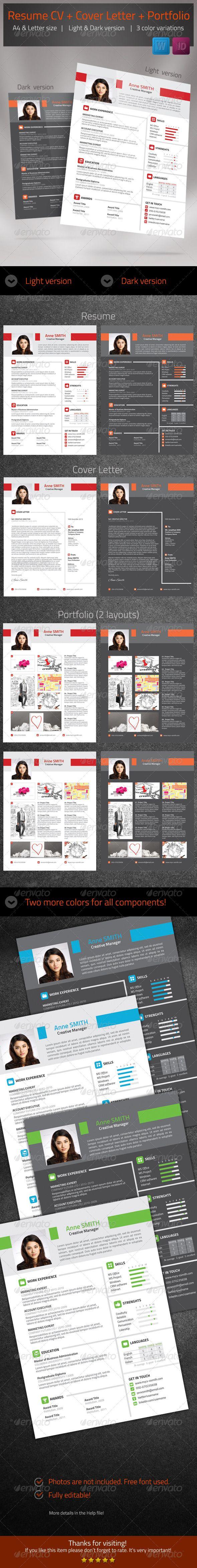 Beautiful Resume set cv cover letter portfolio