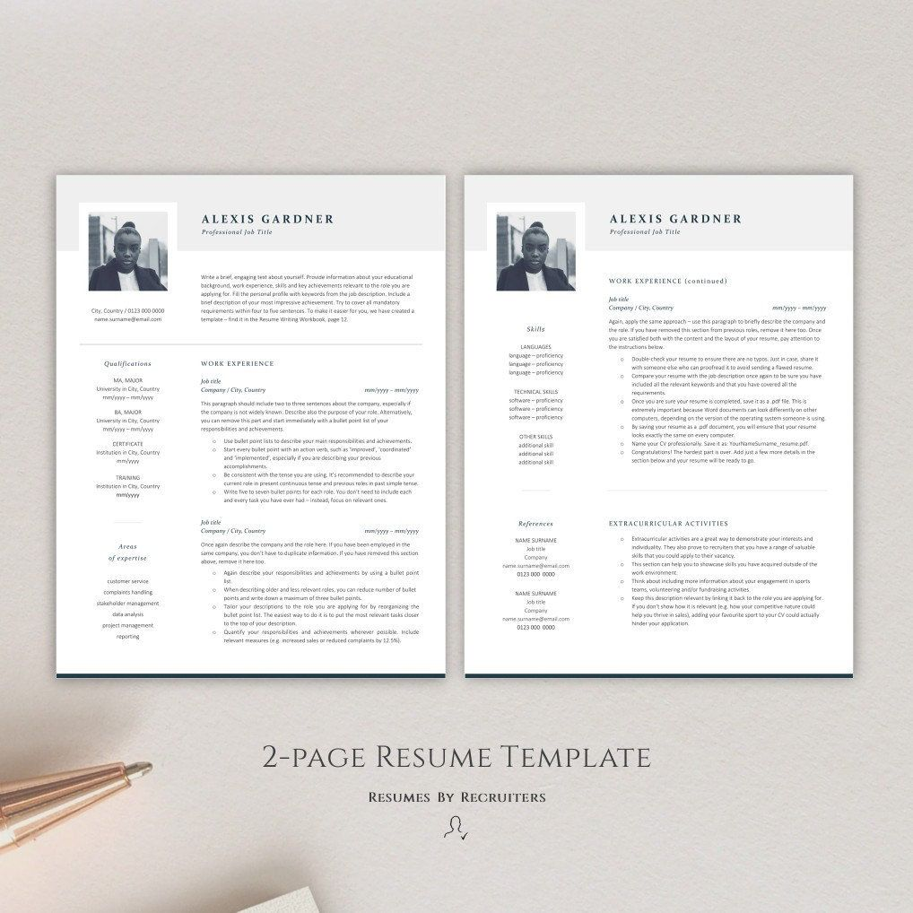 Elegant Resume Template with Photo, Instant Download CV