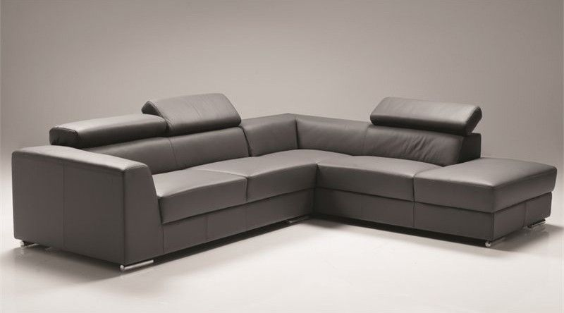 Mobital Furniture Icon Leather Right Facing Sectional In Dark Gray Ser Dgre Premi