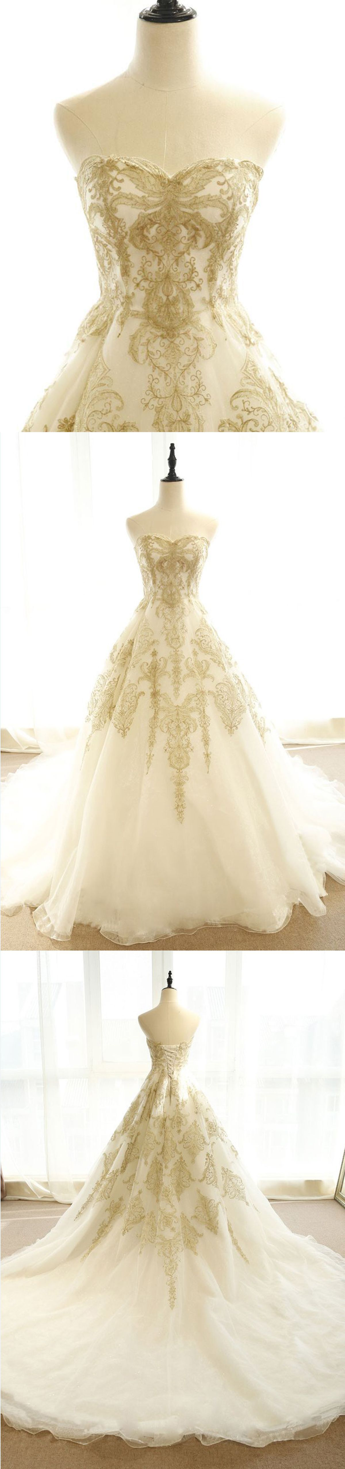 Ivory tulle sweetheart neck long train gold lace appliques evening
