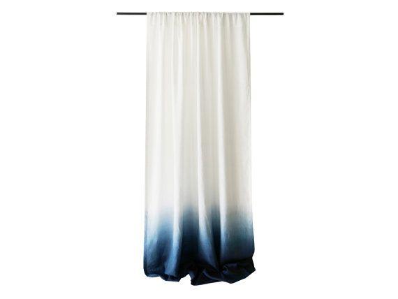 Blue Ombre Window Curtains: Drop Cloth Linen Curtains, 16 Colors, Linen Window