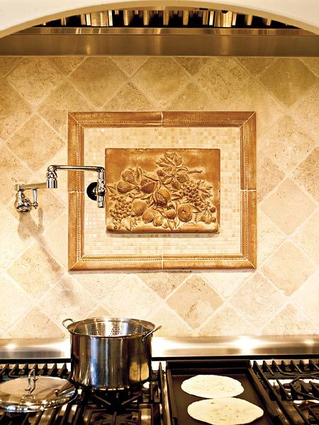 Tile Style - a decorative tile plaque as part of the backsplash above a  stove - Tile Style - A Decorative Tile Plaque As Part Of The Backsplash