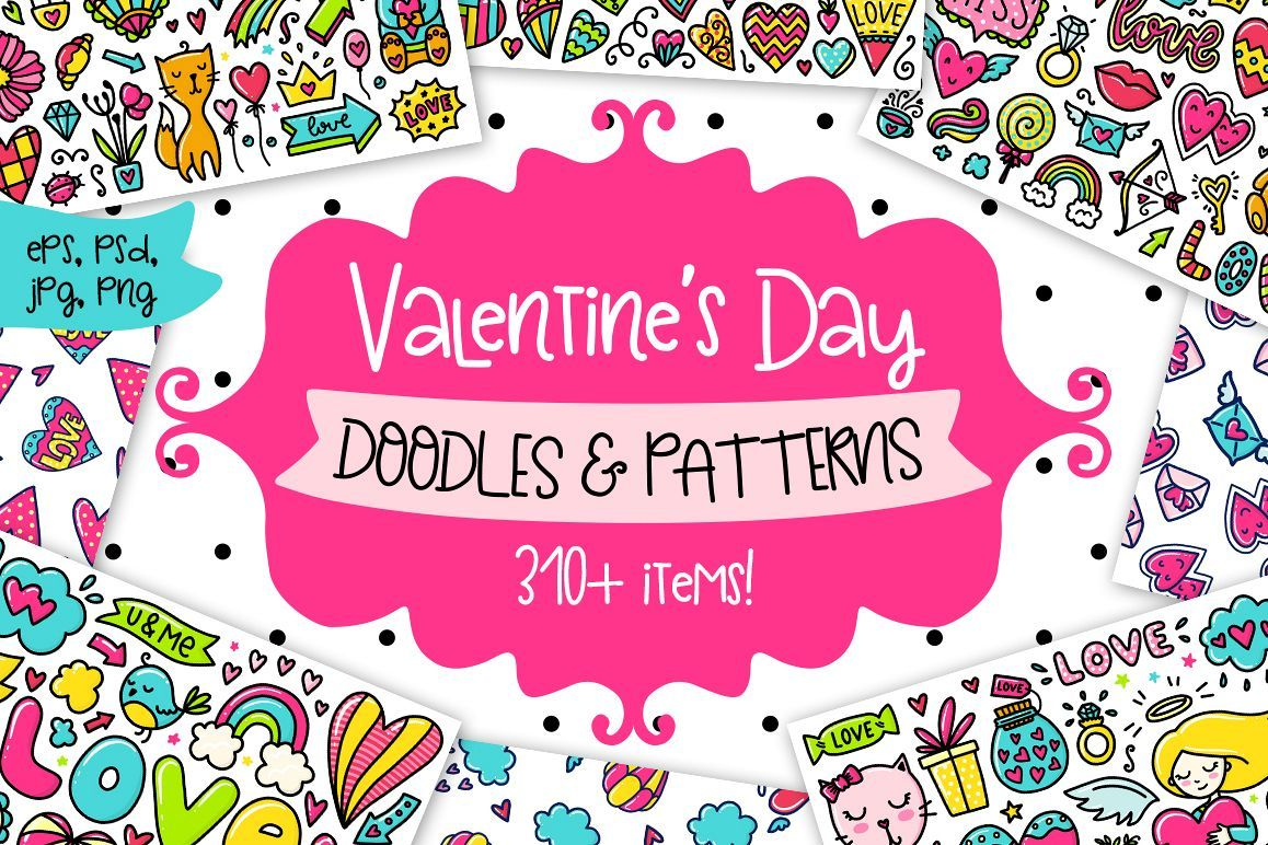 Valentine S Day Clipart Patterns 13306 Illustrations Design Bundles Valentines Day Clipart Valentines Day Doodles Valentines Design