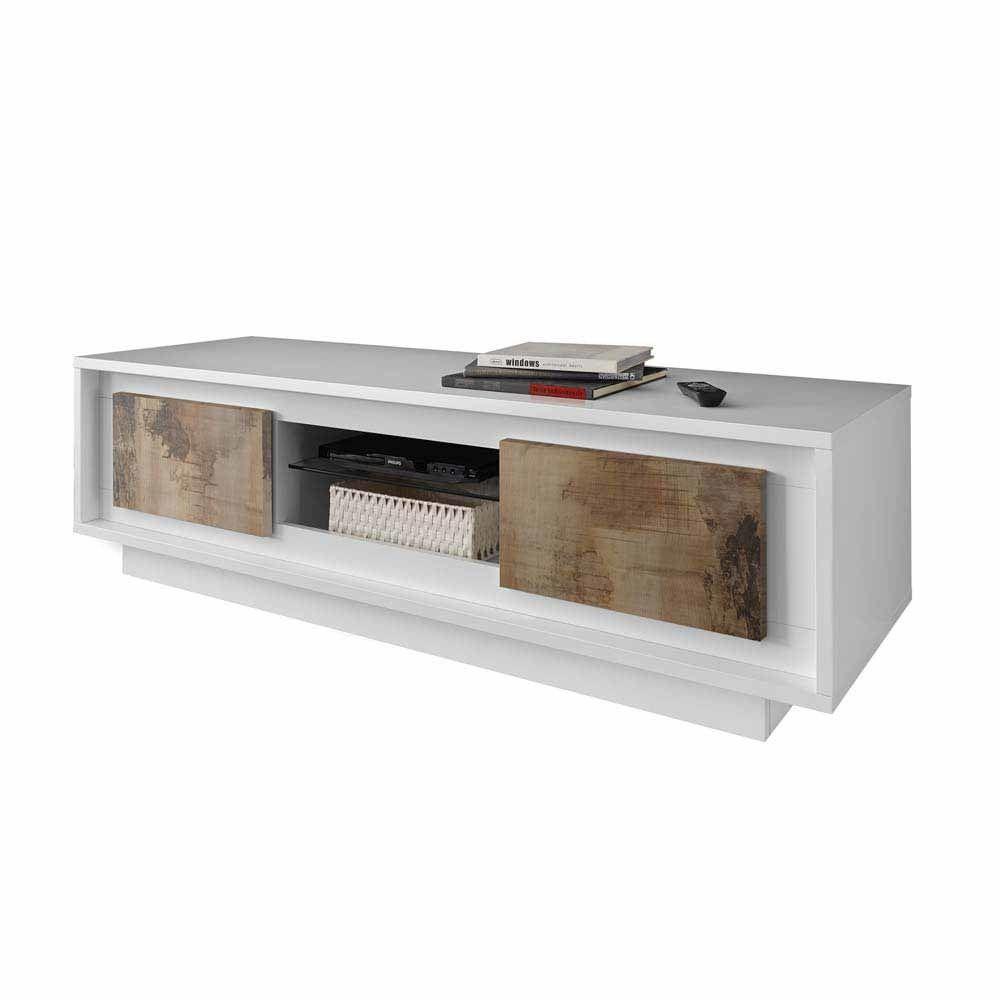 TV Lowboard in Weiß Birnenholz Dekor modern Jetzt bestellen unter ...