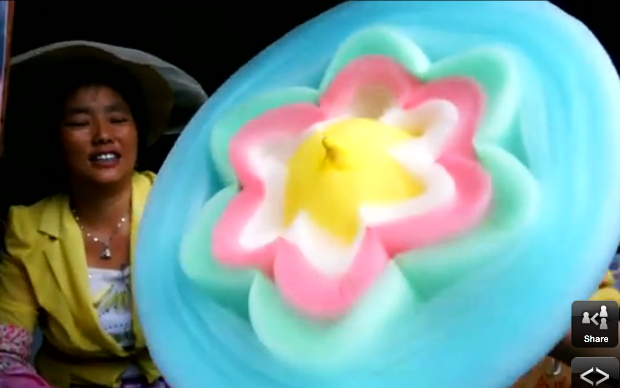 Watch Chinese Trader Sculpt Flower From Candy Floss Telegraph Candy Floss Candy Intricate