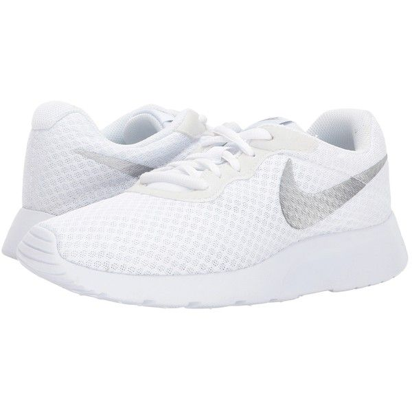 sale retailer 42f46 9ffa5 Nike Tanjun (White Metallic Silver) Women s Running Shoes (€47) ❤ liked on Polyvore  featuring shoes, athletic shoes, round toe shoes, lace up shoes, white ...