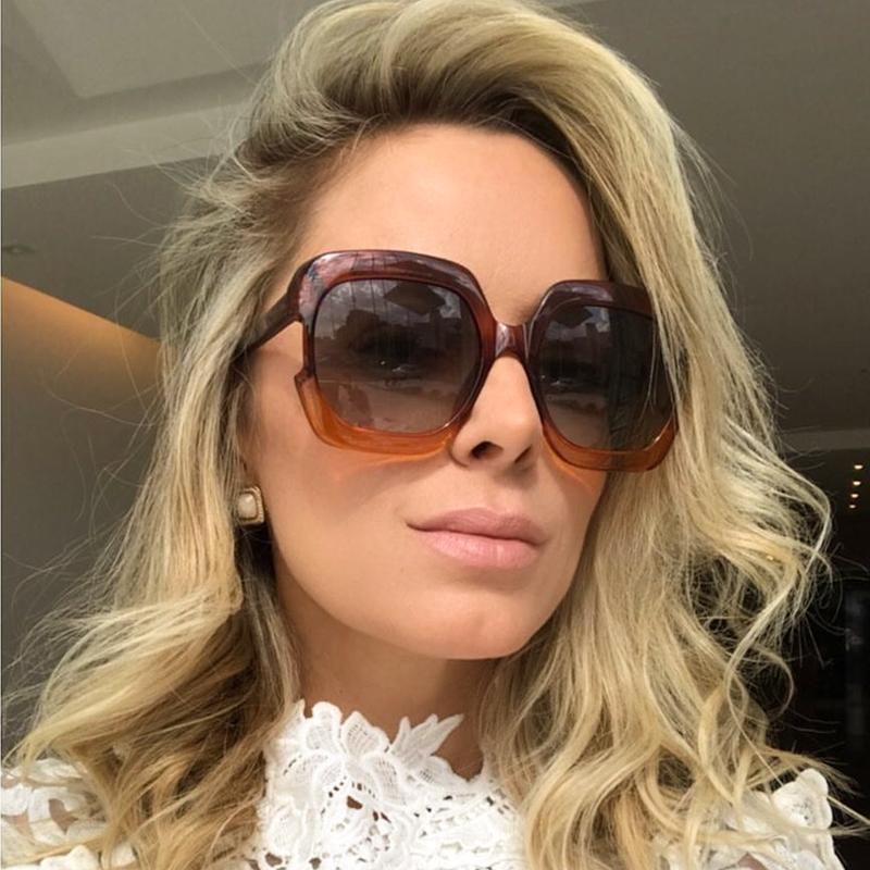 5dc37f970a HBK New 2018 Fashion Simple Oversized Frame Square Women Men Sunglasses  Gradient Plastic Unisex UV400 Goggle Vintage Retro Gray