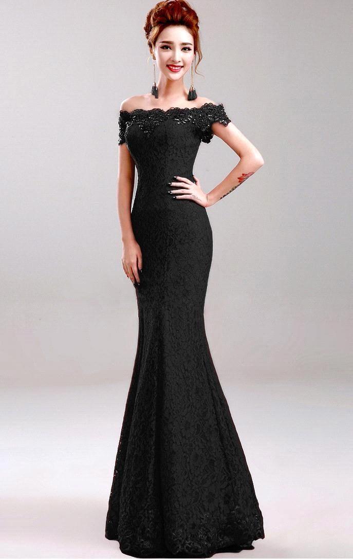 Elegant Sequibed Beaded Red Black Blue Lace Mermaid Long Prom ...