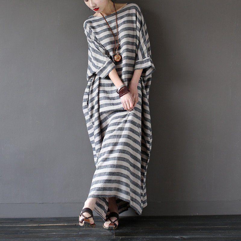 Vintage Striped Batwing Sleeve Robe