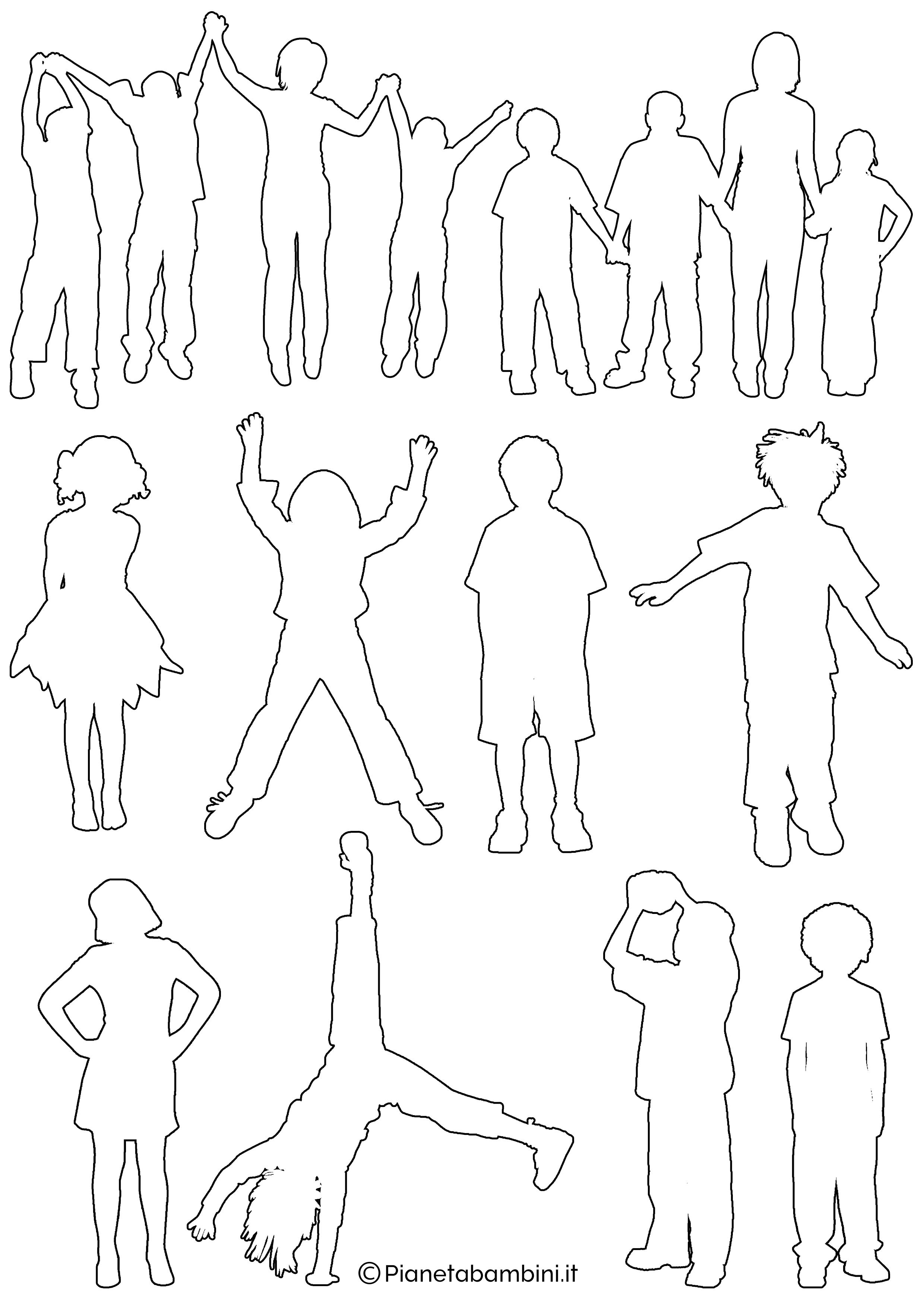 Sagome Di Bambini Da Colorare E Ritagliare Pianetabambini It Bambini Da Colorare Sagome Bambini