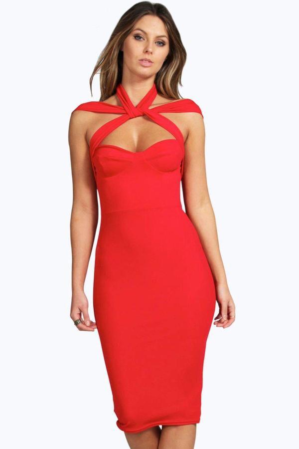 boohoo Rita Strappy Top Detail Midi Bodycon Dress - Love ...