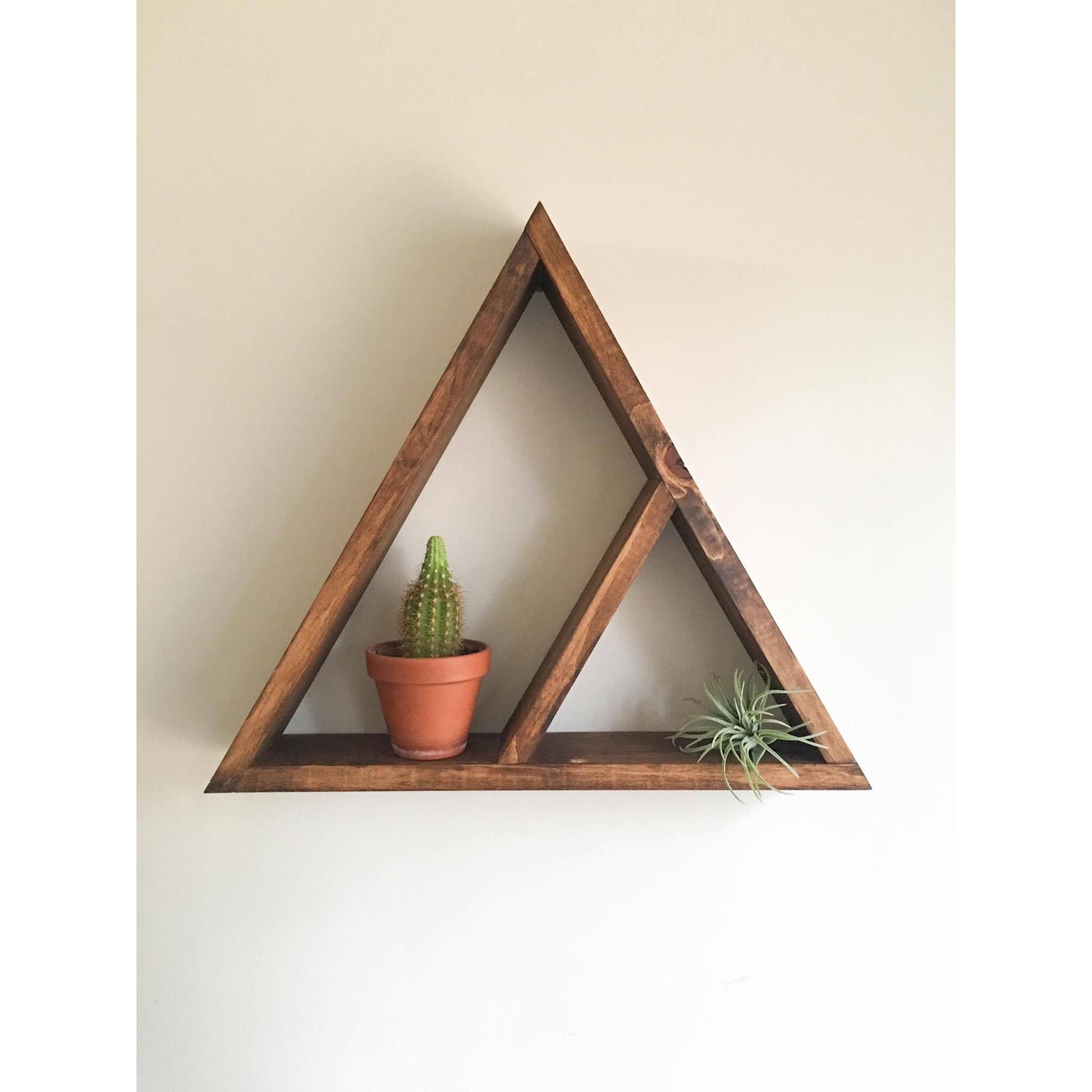 Triangle shelf crystal shelf shadow box wood shelf floating shelf wall shelf 2 tier wooden triangle shelf large triangle in photos this