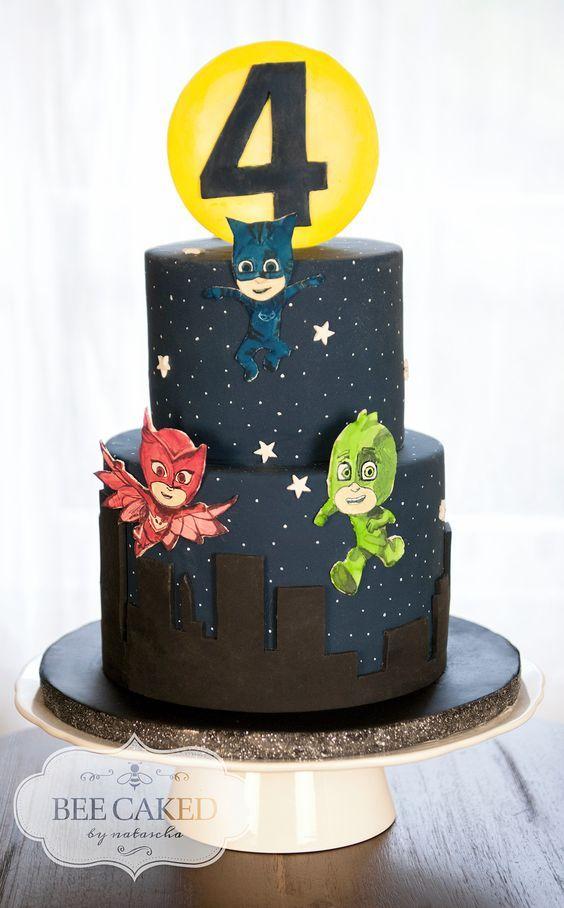 PJ Masks Cake For 4 Year Old Pj Birthday 3
