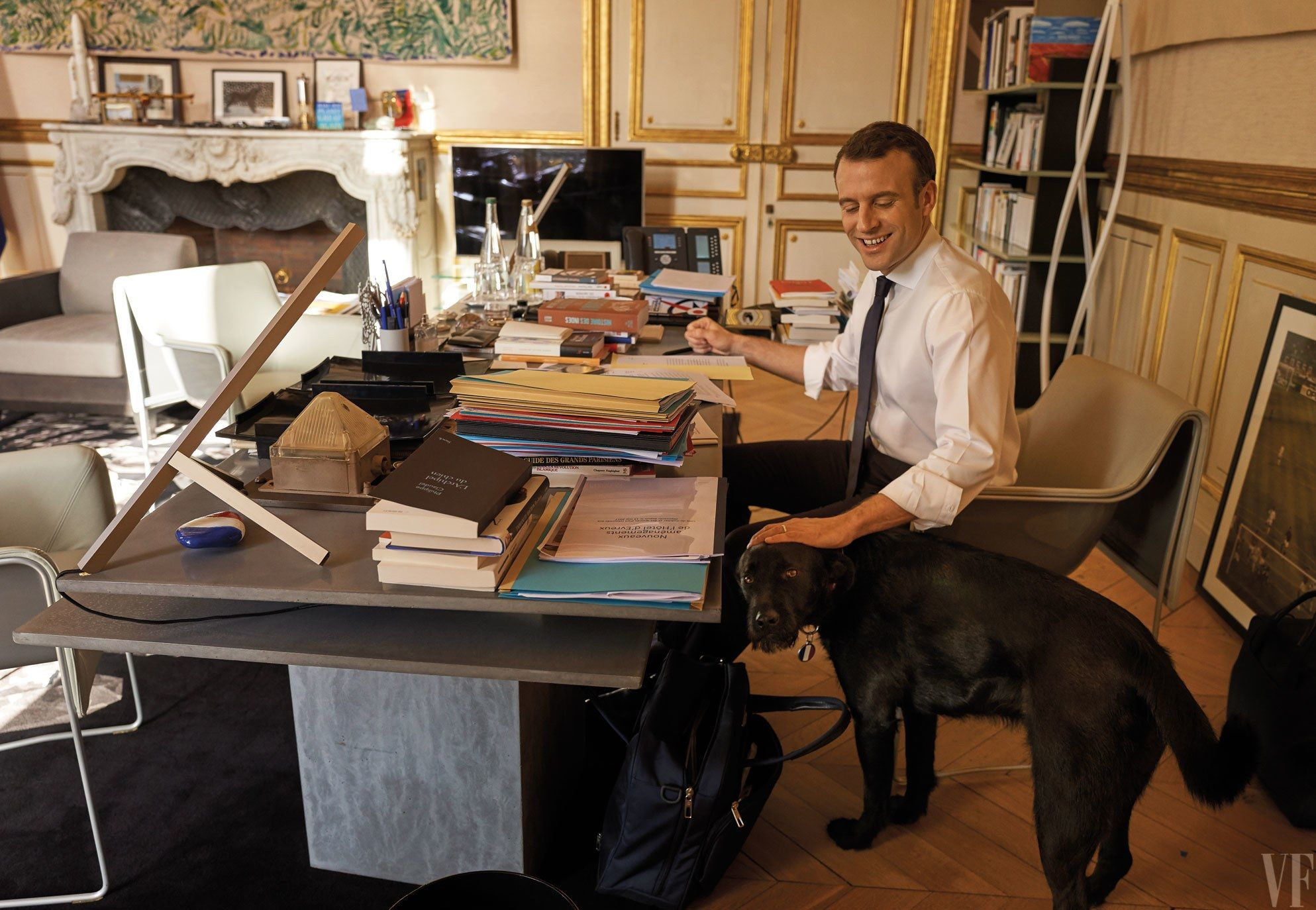 French president emmanuel macron at work in his Élysée office with