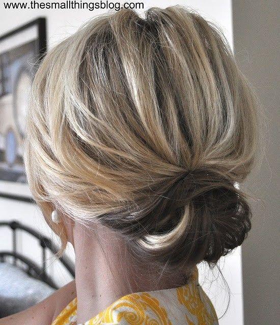 Cute up-do for medium length hair.