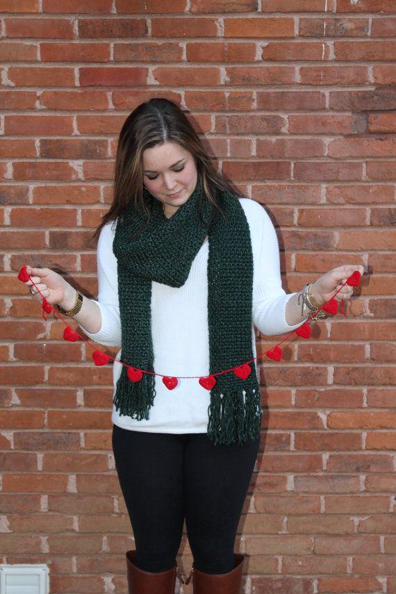 Heart Garland Valentine's Day Garland Crochet by threesheepshack