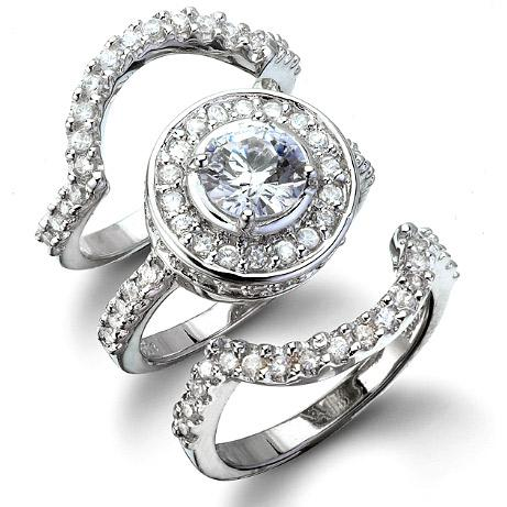 Cybill S Antique Style Three Ring Cz Wedding Set Bridal Jewelry Sets Topaz Wedding Ring 14k White Gold Engagement Rings